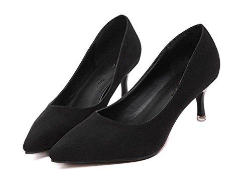LDMB Frauen spitze Zehe dünn mit Mitte Ferse einzelne Schuhe niedrig, um Überschuhe Schuhe zu helfen Black