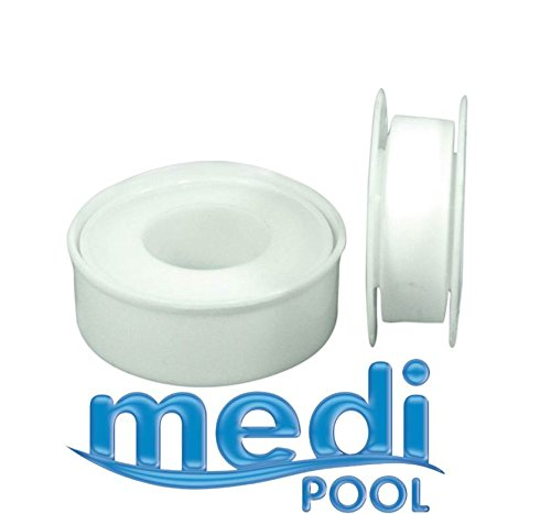 mediPOOL - Teflon Gewindeband (2 Rollen) Teflonband Dichtband für Pool, Schwimmbad, Gartenpool, Sandfilter, etc.
