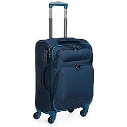 JASLEN - 51950 Maleta Trolley 50 cm Cabina Poliéster EVA. Equipaje de Mano. Semirrígida, Ligera y Resistente. Mango telescópico, 2 Asas 4 Ruedas Dobles. Vuelos Low Cost, Color Azul