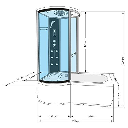 AcquaVapore DTP8055-A007R Whirlpool Wanne Duschtempel Dusche Duschkabine 98×170, EasyClean Versiegelung der Scheiben:2K Scheiben Versiegelung +79.-EUR - 4