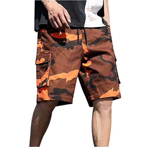 ouflage Shorts Bermuda Cargo Kurze Hose Basic Casual Fitness Strandshorts Outdoor Taschen Urlaub Freizeitshorts Mode Retro Regular Fit Elegant Sommer (5XL, Orange) ()