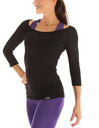 Winshape Damen Fitness Yoga Pilates 3/4-Arm Shirt WS4, Schwarz, Gr. M