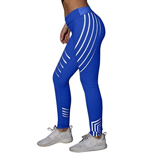 Yoga Hosen Damen, DoraMe Frauen Fitness Leggings Hoch Taille Sport Hosen Laser Farbe Laufen Gym Stretch Hosen (L, Blau) (Strumpfhosen Laufen)
