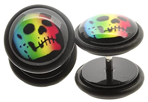 Pair of RAINBOW SKULL Top Quality Fake Ear Plug Cheater Earrings 10mm
