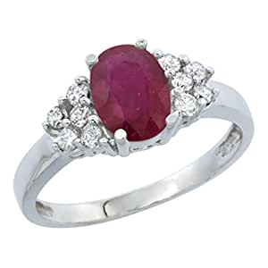 Revoni 14ct White Gold Enhanced Ruby Ring Oval 8x6mm Diamond Accent