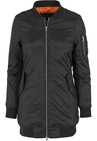 Urban Classics Jacke Long Bomber Jacket - Blouson Femme, Noir (Schwarz) - Medium (Taille fabricant: Medium)