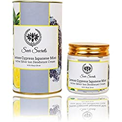 Seer Secrets Lemon Cypress Japanese Mint Active Silver Ion Deodorant Cream │Anti Bacterial │Mild Whitening & Bleaching (100gms)