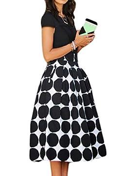 Mujeres Vintage 1940 50 Mediados De Longitud Polka Dots Print Skater Circle Swing Skirt