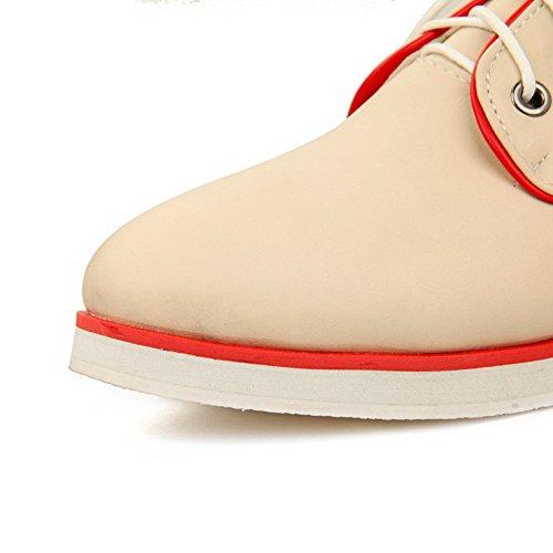 VogueZone009 Femme Lacet Fermeture D'Orteil Rond à Talon Bas Pu Cuir Couleurs Mélangées Chaussures Légeres Beige