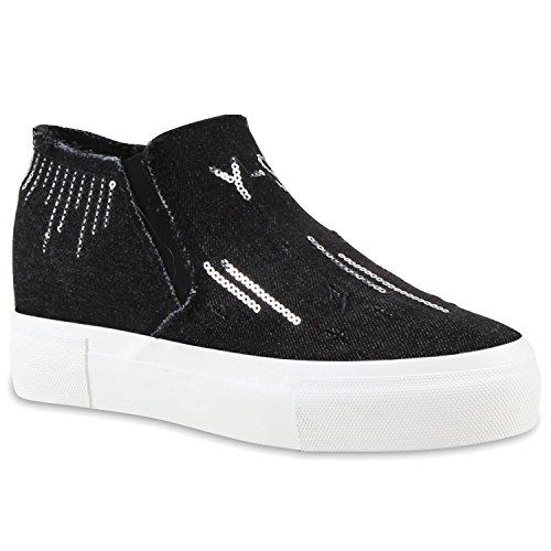 Damen Sneaker-Wedges Denim Schuhe Pailletten Keilabsatz Sneakers Schwarz
