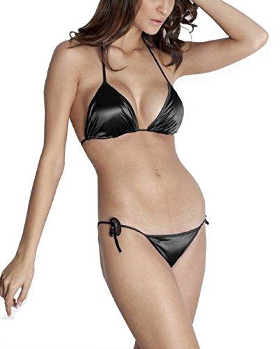 BoldnYoung Satin Honeymoon Bikini Beachwear Lingerie Set For Women Black
