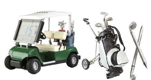 Golf Desktop-Set Golf Mini Cart mit LED Uhr & Mini Golf Caddy mit Kugelschreibern by CEBEGO®,Golfgeschenke Indoor