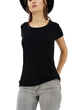 trueprodigy Casual Mujer Marca Camiseta Basico Ropa Retro Vintage Rock Vestir Moda Cuello Redondo Manga Corta...