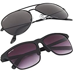 Creature Unisex Aviator & Wayfarer Sunglasses Combo with UV Protection (Lens-Jet-Black/Purple||Frame-Black||SUN-004 DOIT-001)