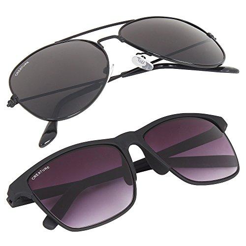 Creature Black Aviator & Wayfarer Uv Protected Unisex Sunglasses Combo (Lens-Jet-Black||Frame-Black||SUN-004 DOIT-001)