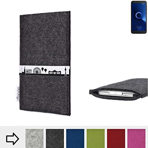 flat.design für Alcatel 1C Single SIM Schutztasche Handy Hülle Skyline mit Webband Wien - Maßanfertigung der Schutzhülle Handy Tasche aus 100% Wollfilz (anthrazit) für Alcatel 1C Single SIM