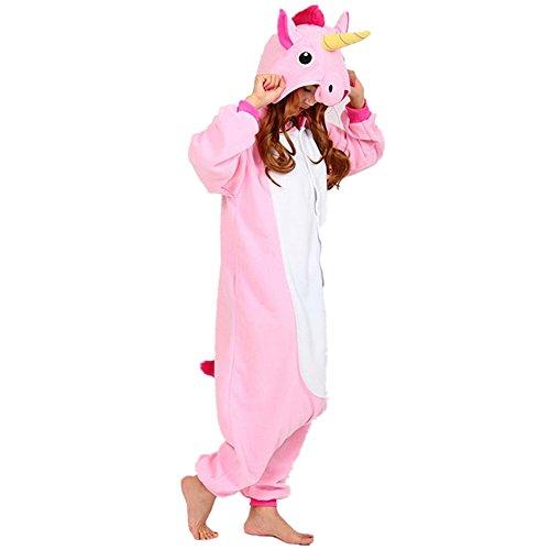 Einhorn Kostüm Erwachsene Tier Jumpsuits Onesie Pyjama Nachthemd Nachtwäsche Cosplay Overall Hausanzug Fastnachtskostuem Karnevalskostüme Faschingskostüm Kapuzenkostüm (L: Für Ihre Höhe :171 - 180cm, Pink)