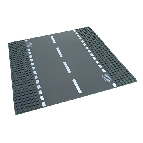 1 x Lego System Bau Platte 6N Straße gerade dunkel grau 32 x 32 Noppen 32x32 mit Kanal Abfluss Gullys 7280 - Graue Platte Lego Bau
