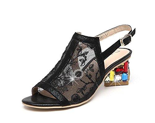 GLTER Donne Pompe Peep Toe In Pelle Sandali Vuoti Laccio Dietro Crystalcrystalline Garza Mid Heel Shoes Romani Charme Oro Bianco Nero 37
