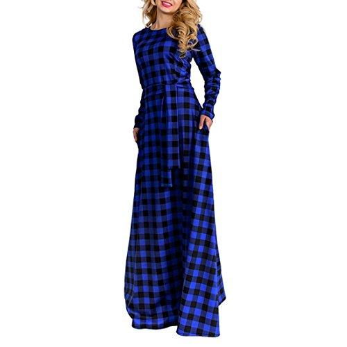 Kleid damen Kolylong® Frauen Elegant Plaid Kleid Lang Vintage Langarm Kleid Mit Gürtel Festlich Kleider Cocktailkleid Party Kleid Abendkleid (Blau, XXXL) (Womens Snow Boots Plaid)
