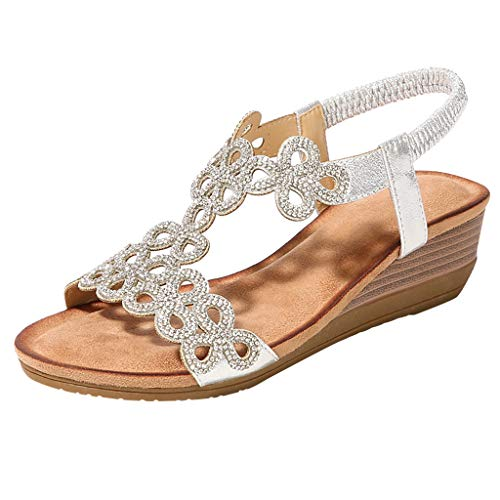 Scarpe Sandali Donna con Tacco Bassi Zeppa Eleganti Estivi Tacco A in Cristallo Elasticizzato Spiaggia BohMien Elastica