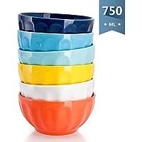 sweese 1109 Bol en porcelaine 6 pièces, diamètre 15.2 cm, capacité de 768 ml, grand, Bols à Céréales multicolores 6 Farben