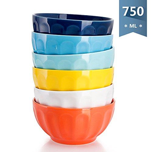 Sweese 1108/1109 Bol en porcelaine 6 pièces, diamètre 15.2 cm, capacité de 750 ml, grand, Bols à Céréales