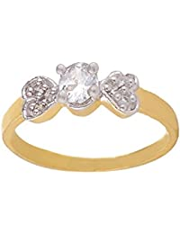 SKN Silver And Golden American Diamond Solitaire Party Alloy Ring For Women & Girls (SKN-1425)