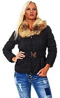 Fashion4Young Damen Kurzjacke Stepp Jacke mit Kapuze Fell Winterjacke Wintermantel Kurzer Mantel
