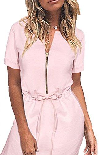 Lässige Short Sleeve Mini Shirtkleid für Damen Pink