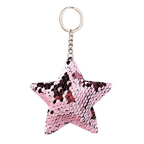 Star Mode Star Pailletten Schlüsselanhänger Geschenk Schlüsselring Pailletten Anhänger Schlüsselanhänger (Rosa)