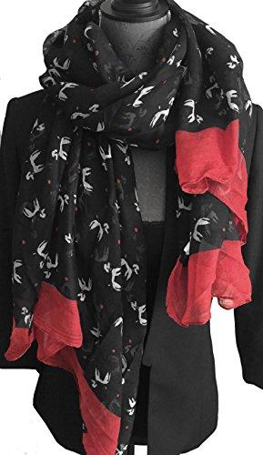 LAFINITY T2318 Damen Tuch Schal Stola Pudel Hunde Motiv Schwarz, Weiß, Rot Leicht (Schwarz Pudel Schal)