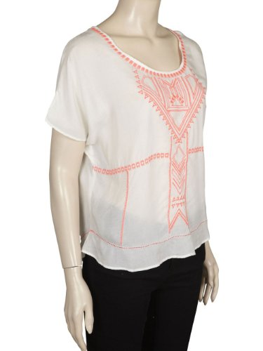 Vila - Hedvig Top, T-Shirt Donna Blanc (White/Coral)