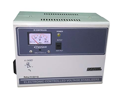 Rahul H-50110c 5 Kva/18 Amp in Put 100-280 Volt 5 Booster Best Suitable for 2 Tonns Air Conditioners Copper Automatic Voltage Stabilizer