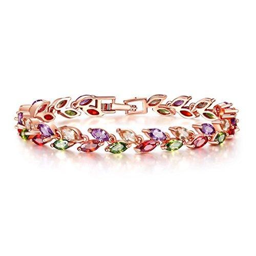 Yazilind Boucle Bracelet Rose plaqué Or Jolie Couleur Feuilles de Zircon pour Les Femmes Filles Partie Bijoux (17cm)