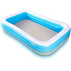 Sable Inflatable Paddling Pool Rectangular, for Kids, Adults, Family, Backyard, Indoor & Outdoor with Cloth 234 x 142 x 51 cm, Blue & White