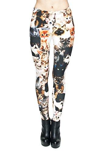 Fringoo Compression Filles Leggings pour femme Imprimé All Over pas voir à travers très élastique UK 8/10/12 Entraînement Fitness Yoga de Course Gym Danse Pantalon pour femme Cats
