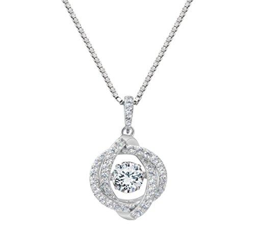 nana Swirl Dancing pietra ciondolo s-silver & Swaroveski CZ con 1mm 55,9cm box catena regolabile, Argento rivestito in platino, colore: Silver, cod. 17-10084-W