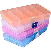 Opret 4 Pack Caja de Almacenamiento Caja Compartimentos de Plástico (15 Compartimentos) con Separadores