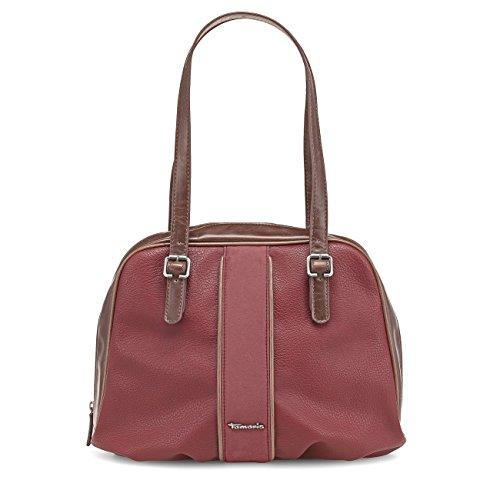 TAMARIS DEMETRA Handtasche, Henkeltasche, Bicolour-Look, 4 Farben: schwarz, bottle grün, bronze antique oder bordeaux rot Bordeaux Rot