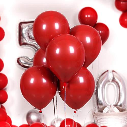 Qianren - Globos Rojos de Granada, 50 Unidades, para Bodas, cumpleaños, Aniversario