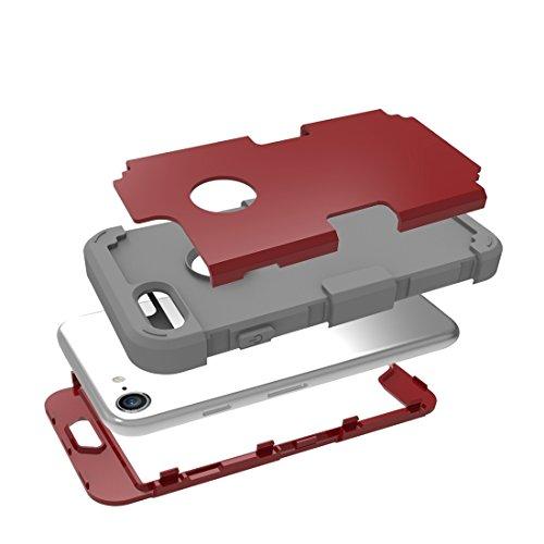 iPhone Case Cover Pour iPhone 7 Couleur de contraste séparable PC + Silicone Combination Case ( Color : Blue ) Red