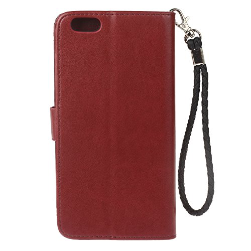 iphone 6 Plus (5.5 Zoll) Wallet Case für Apple iPhone 6 Plus Flip Hülle Laoke Eule Blumen Muster Handyhülle Schutzhülle PU Leder Case Skin Brieftasche Ledertasche Tasche im Bookstyle in +Staubstecker  8