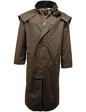 Para hombre juego de cera Stockman abrigo largo de capa/chaqueta