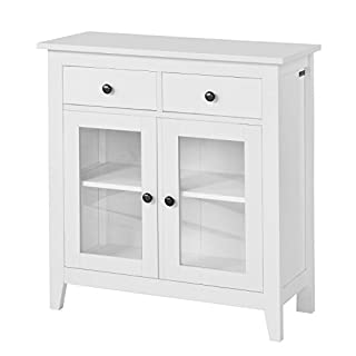 SoBuy® FSB05-W, Sideboard Cabinet, Storage Cupboard Storage Cabinet with 2 Drawers and 2 Doors