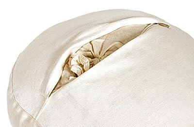 Meditationskissen Glückssitz Basic Buchweizenschalen, Ø 33 cm x 15 cm, Bezug und Inlett 100% Baumwolle, Bezug und Inlett maschinenwaschbar bis 30º C