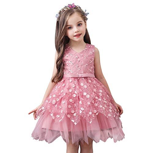 Deloito Baby Tochter Prinzessin Kleider Kinder Mädchen Elegante Abendkleid Rüschen Bogen Blumen Spitze Patchwork Tüll Kleid Mit Gürtel Hochzeits Partykleid (Lila,120/3-4 T) -