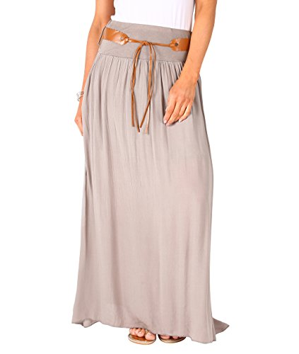 d31f23087a KRISP Falda Larga Mujer Asimétrica Boho Cintura Alta Verano 2017 Plisada