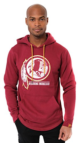 Icer Brands NFL Herren Fleece-Pullover Hoodie Sweatshirt Gesticktes Team-Logo, Washington Redskins L/S Pullover Applique Hoodie, Burgunderrot -