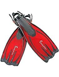 Delphin profesional buceo Aletas Aletas para snorkel/Buceo, natación soporte de–rojo (S/M)